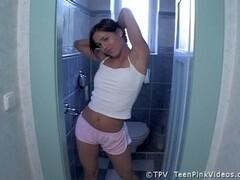 Babe Wanks On The Toilet Thumb