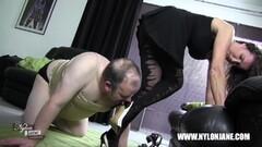 Kinky cock foot worship wank with Milf Thumb