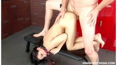 Blonde babe using ultra huge dildo Thumb
