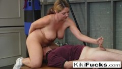 Stacked cheerleader gives her coach a special handjob! Thumb