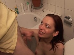 A blowjob, one of the many uses of the bathroom Thumb
