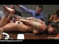 Hogtied on table at dinner party babe electro shocked Thumb