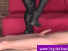 Sex slave fucks mistress leather boots and gets queened Thumb