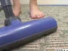 Busty nudist Japanese housewife vacuums the living room Thumb