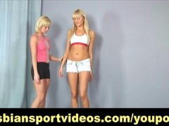 Tall blonde has nude lesbian workout Thumb