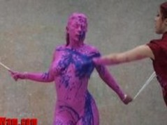 Lesbian couple blue body paint bath Thumb