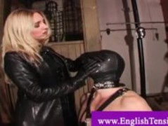Domina humiliates her pet man slave and lets him lick her through Thumb