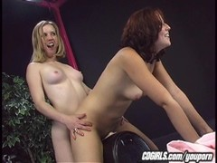 Lesbians work their pussies on the sybian Thumb