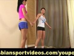 Busty lesbian instructor seduces shy trainee Thumb