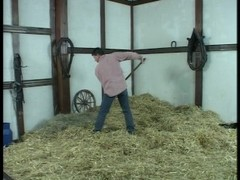 Farmer Brown jumping in the hay with a blonde Thumb