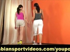Lesbian seduction during nude workout Thumb