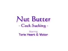 Hot brunette licks peanut butter off a big cock Thumb
