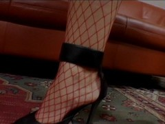 Mature babe in red fishnets takes two dicks Thumb