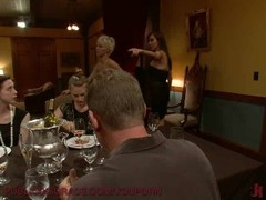 Dinner guests serviced by hot blonde. Thumb