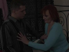 Redhead Helga gets her mature pussy stretched Thumb