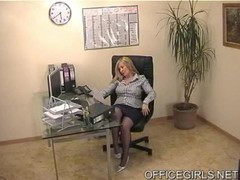 Chubby Secretary In Blue Silk Stockings Thumb