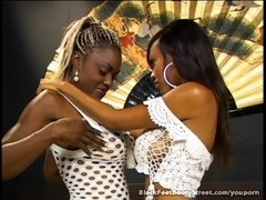 Lovely Ebony Lesbians Licking Feet Thumb