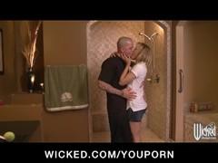 Horny flexible blonde slut sucks & fucks hard-dick in the shower Thumb
