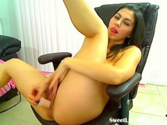 cute brunette playing with her pussy on a chair(9).flv Thumb