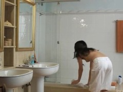 Brunette teen stripping in the bathroom Thumb
