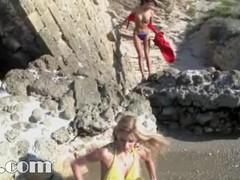 blond girl fingering on the beach Thumb