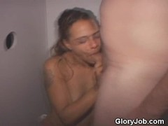 Latina Dirt Bag On Her Knees Sucking In Glory Booth Thumb