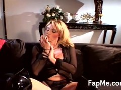Big breasted blonde in black boots sucking and licking a massive white cock Thumb
