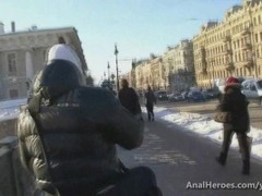 A hot blonde chick with perfect ass gets seduced in a cold winter street Thumb