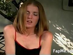 Attractive blonde with nice tits jerking her boyfriend's huge cock Thumb