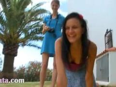 Two girlfriends Beata and Mia gag me Thumb