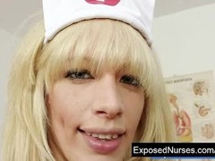 Nurse Paris gets kinky with plastic speculum on gynochair Thumb