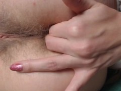 2 fingers deep in hairy young super tight asshole. Anal with fingers deep Thumb