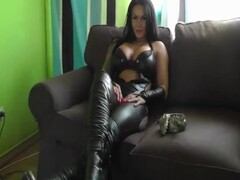 German Smoking Fetish Mistress Ashtray+Spitting in Black High Heels Leather Thumb