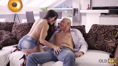 OLD4K. Pretty nice lassie enjoys ass-fucking with old man at Ibiza Thumb