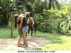 2 Brazilian Lesbians orgasm beside a horse Thumb