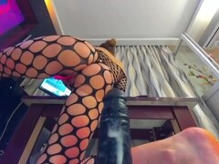 Thick Bubble Butt Rides Big Black Dildo and has creamy orgasms Thumb