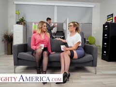 Naughty America Katie Kush and Kenzie Madison fuck the new guy at work Thumb
