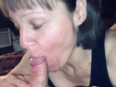 Mature cougar loves sucking off her young man POV BJ Thumb