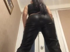 Girl in skin pants fuck urself with big black toy from behind! BIG ASS! BIG TITTS!FOOT FETISH !CUM Thumb
